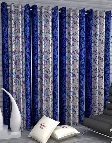 4 Piece Eyelet Polyester Door Curtain Set - 7ft, Blue