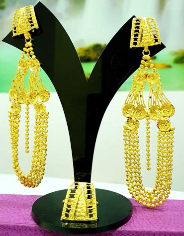 African Elegant Gold Plated Triangle Earrings Set With Finger Ring For Women