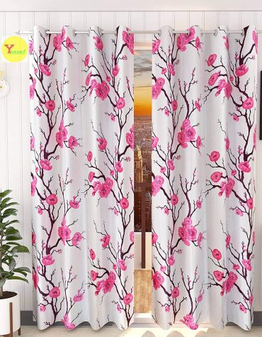 Modern Polyester Heavy Long Crush Printed Floral Premium Eyelet Curtains Set of 2 Pcs