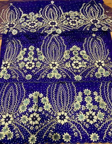 Nigerian 3D Floral Heavy Beaded Silk George Fabric Wrapper Heavy Beaded Taffeta Silk George