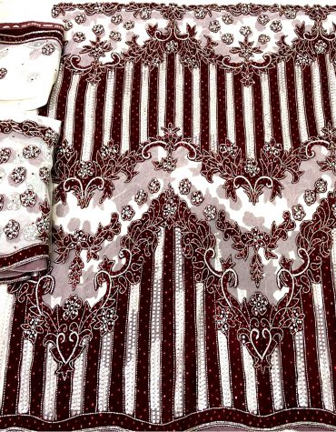 Designer Nigerian Net Lace With Velvet Work, Nigerian Net Lace Velvet Work