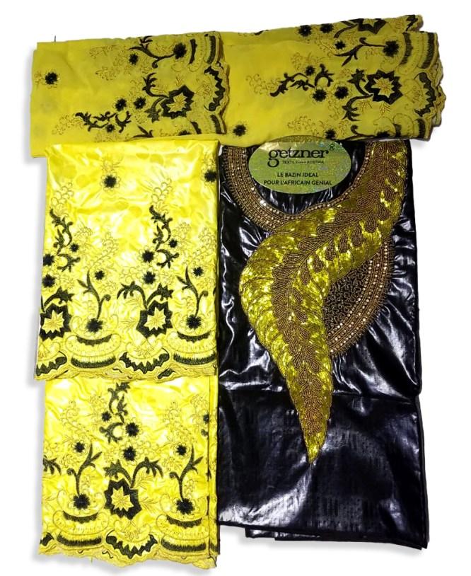 Elegant Designer 100% Bazin Riche Fabric Riche Getzner with Gold Beads For Women