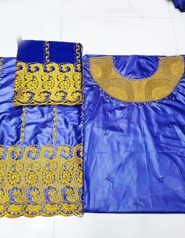 African Attire Special Design of Bazin Perlage Golden Beaded Dress Material