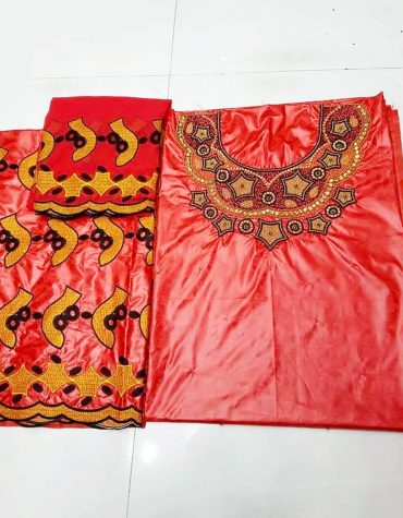 African Attire Special Design of Red Bazin Perlage Golden Beaded Dress Material