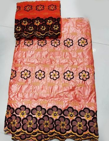 African Attire Floral Designer of Orange Bazin Perlage Embroidery Dress Material