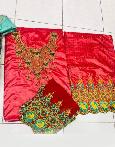 African Attire Floral Designer of Red Bazin Perlage Embroidery Beaded Dress Material