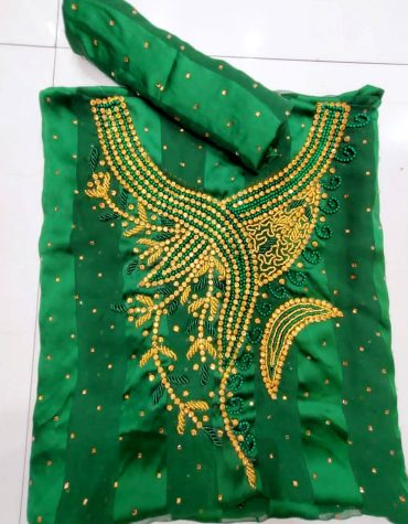 Swiss Voile Lace Green Mix Color Beaded African Women Dress Material