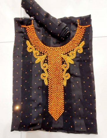 Black Swiss Voile Lace Golden Moroccan Beaded African Women Dress Material