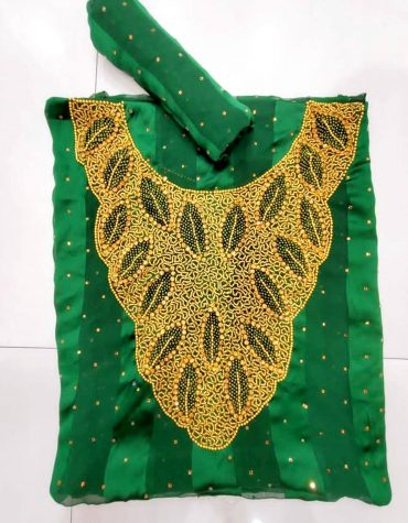 Swiss Voile Lace Golden Morocco Beaded African Green Women Dress Material