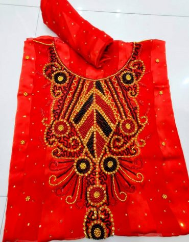Orange Swiss Voile Lace Golden Moroccan Beaded African Women Dress Material