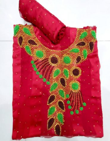 Swiss Voile Lace Golden Moroccan Beaded Red African Women Dress Material