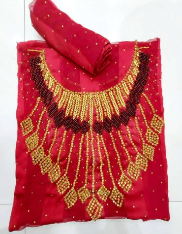 Swiss Voile Lace Golden Moroccan Beaded Burgundy African Women Dress Material
