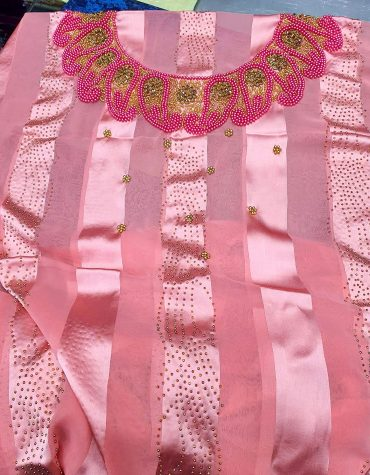 Swiss Voile Lace Golden Moroccan Beaded Pink African Women Dress Material