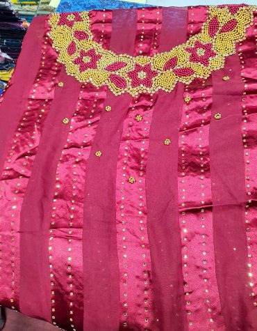 African Swiss Voile Lace Golden Moroccan Beaded Burgundy Women Dress Material