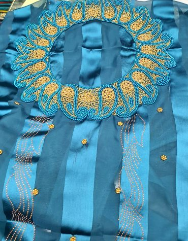 African Swiss Voile Lace Golden Moroccan Beaded Firozi Women Dress Material