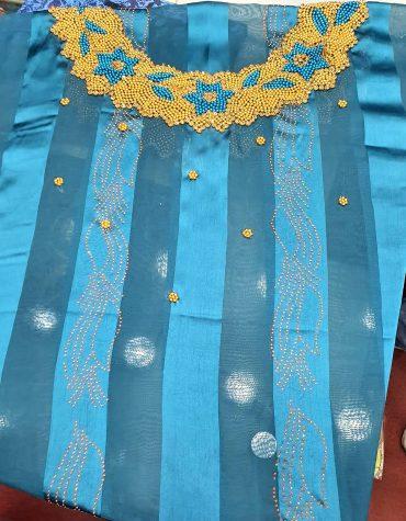 African Swiss Voile Lace Golden Flower Moroccan Beaded Firozi Women Dress Material