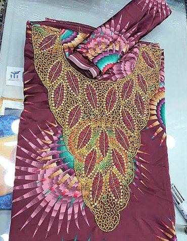 African Elegant Women Swiss Voile Weightless Beaded Printed Satin Dress Material