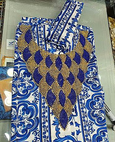 Swiss Voile Weightless Printed Satin Golden Moroccan Beaded African Women Dress Material