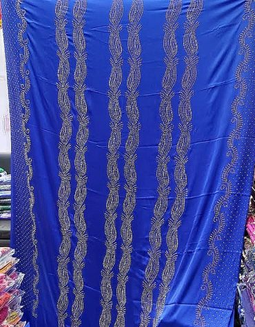 Elegant Blue African Bridal French Silk Glossy Satin Gold Glitter Rhinestones Dress Material