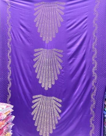 Elegant African Bridal French Silk Glossy Satin Gold Rhinestones Dress Material