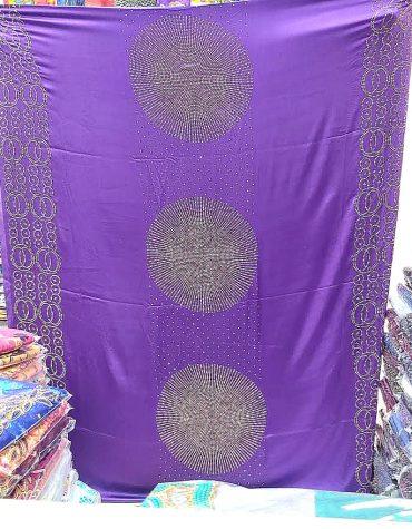Elegant African Bridal French Silk Glossy Satin Gold Rhinestones Purple Dress Material