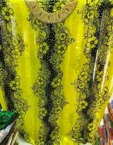 African Bridal Wavy Design Silk Satin Gold Rhinestones Fuchsia Dress Material