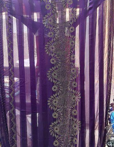 African Attire Party Designer Silk Satin Gold Rhinestones Purple Dress Material