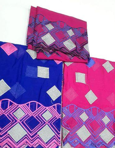 Swiss Voile Designer Cotton 3 Piece Dubai Embroidery Dress Material-Fuchsia