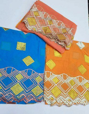 Swiss Voile Designer Cotton 3 Piece Dubai Embroidery Dress Material-Orange