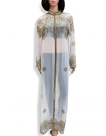 Beach Cover Up Long Chiffon Party Wear Beaded Womens Dubai Kaftan-White