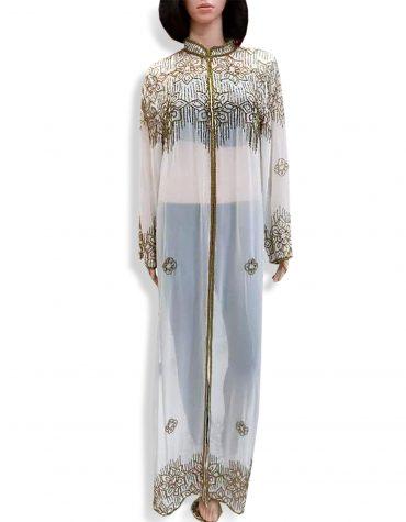 Beach Cover Up Long Chiffon Party Wear Beaded Womens Dubai Kaftan-White