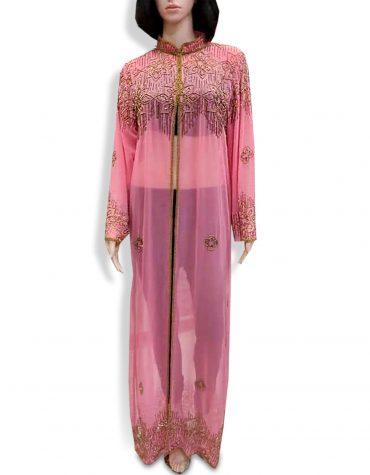 Beach Cover Up Long Chiffon Party Wear Beaded Womens Dubai Kaftan-Pink