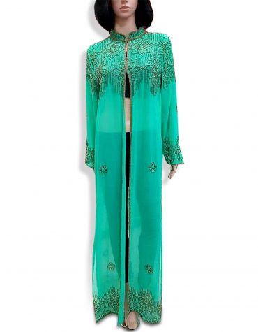 Elegant Beach Cover Up Long Chiffon Party Wear Beaded Womens Dubai Kaftan-Sea Green