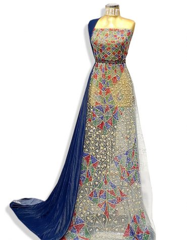 Embellished Heavy Beaded Embroidery African Wedding Dress Materials