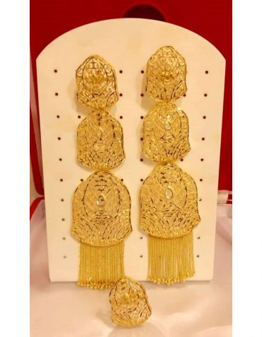 African gold long earrings