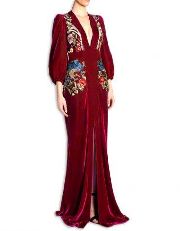 Burgundy Velvet Long Dubai Muslim Bridesmaid fashionable Style Dress