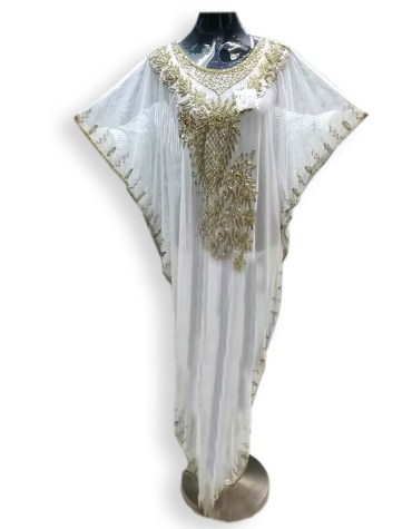 White Cover Beach up Evening Party Wear Handmade Abaya Women Dubai Cape Kaftan