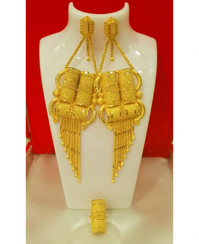 African gold earring shape wedding party set For Women