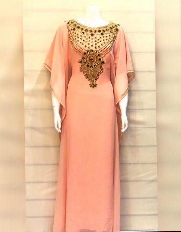 Peach Chiffon Dubai Kaftan with Gold Embellished Beaded Round Neck Abaya Dress