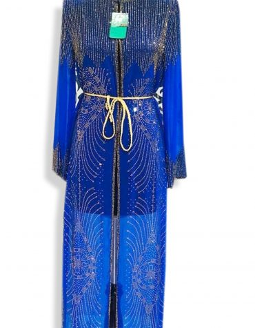 Beach Long Sleeve Moroccan Wedding Blue Formal Dubai Dresses for Women