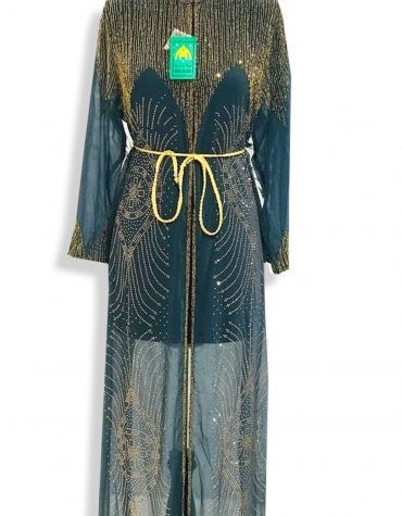 Long Sleeve Moroccan Wedding Bottle Green Formal Dubai Dresses for Women