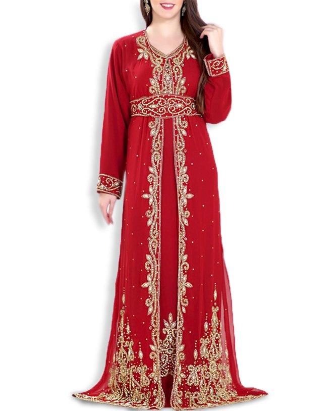 African Attire Wedding Abaya Long Maxi Moroccan Beaded Dubai Kaftan for Women
