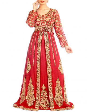 African Attire Wedding Abaya Long Moroccan Beaded Dubai Red Kaftan for Women