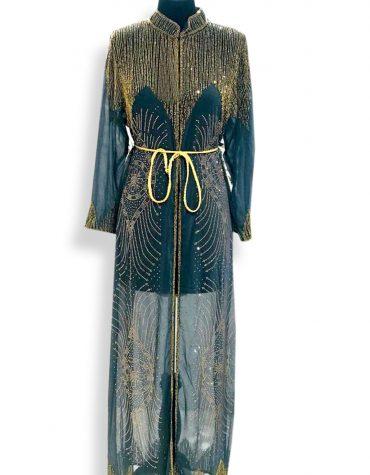 Long Sleeve Moroccan Wedding Green Formal Dubai Dresses for Women