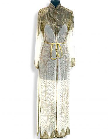 Long Sleeve Moroccan Wedding Green Formal Dubai Dresses for Women-White