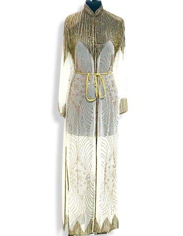 Trendy Long Sleeve Moroccan Beaded Wedding Sheer Chiffon Poncho Formal Dubai Dresses for Women