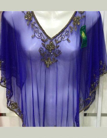 Evening Handmade Poncho Shrug top Embroidery Designs Beaded work net fabric Women