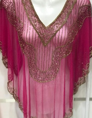 Evening Fuchsia Poncho Shrug top Embroidery Designs Beaded work Tulle Fabric Women