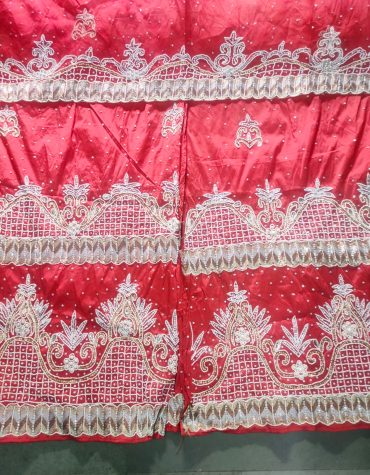 Nigerian Traditional Heavy Crystal Stonework Fabric Red Net George Wrapper