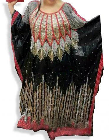 Elegant African Floral Designer Black Rich Bazin Perlage Golden Beaded Dress Material